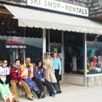 Alicia, Travis, Val, Brad, Jaymes and Clare outside TOTEM SKI SHOP!